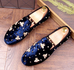 Wholesale Eur 43 - Fashion Men's Rivets Loafers Smoking Slipper Casual Shoes Men's Flats Genuine Leather Dress Wedding Party Shoes EuR Size 38-43 AXX693