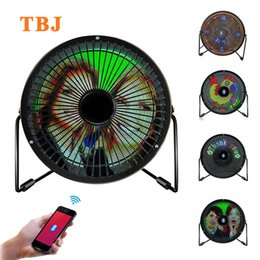 Wholesale Fans Messages - Mini USB Bluetooth Full Color Digital Message Display Table Led Fan iOS & Android Phone APP Fan
