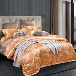 Wholesale Pink Jacquard Bedspread - noble royal court style sheets sets peacock tail print silk cotton jacquard linens bedding sets multi size bedspread