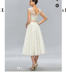 Argentina A-Line Jewel Neck Lace Tea-Length Junior Prom Dress Graduación Suministro