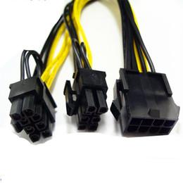 Double câble d'alimentation mâle en Ligne-Nouveau GPU 6 broches / 8 broches 8 broches Femelle à double PCI-E PCI Express 8 broches (6 + 2 broches) Câble d'alimentation mâle Pour carte graphique BTC Miner 20cm OTH813