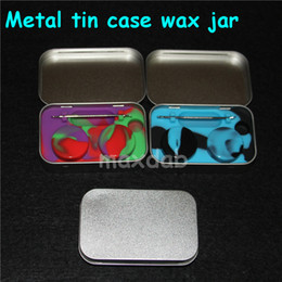 Wholesale metal tin toys - 4 in 1 Tin Silicone Storage Kit Set with 2pcs 5ml Silicon Wax Container Oil Jar Base Silver Dab Dabber Tool Metal Case