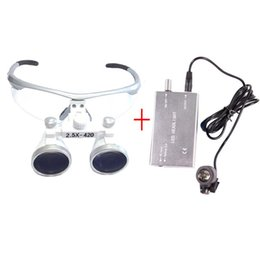Wholesale Loupe Glasses Dental - 2.5X420 Dental Hygienists Surgical Binocular Loupe Glasses 3W Headlight Lamp Silver