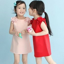 Wholesale Girls Simple Cotton Dresses - Solid color simple New Kids baby Girls Popular Sleeveless Flower Straight Princess Party Clothes Short Skirt Dresses