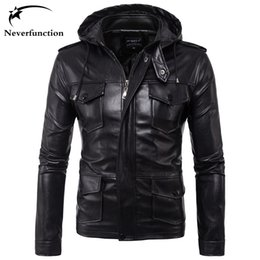 motorcycle goods Promo Codes - Hooded Slim autumn Men PU Leather Jacket Good quality Multi pocket Windbreak biker men Faux Leather Casual motorcycle Jackets