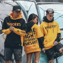 Wholesale System Clothes - VEGORRS Men's Wear 2018 Street Increase Down Man Sweater Continuous System Hip-hop Letter Printing Even Cap Tide Clothing