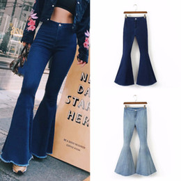 faf7c2266fc2d Full-length Bell-Bottoms flare pants stretching cool soft mid-waist light  washed regular Trousers 2018 summer women jeans female S18101603