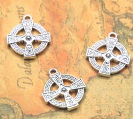 Croce religiosa antica online-12pcs / lot fascino trasversale di tono d'argento tibetani antichi fascini traversa religiosa 24x20mm Ciondolo