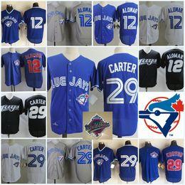 Wholesale green joe - Mens #29 Joe Carter 1993 WS Patch jersey Embroidery stitched Royal Blue mesh #12 ROBERTO ALOMAR baseball Jersey S-3XL