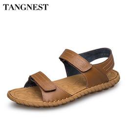 Tangnest Summer Beach Sandali Uomo Moda Cuoio genuino in pelle da cucire  Anti Slippy Uomo Flats Soft Casual Uomo Driving Shoes XML226 f8a222b3fa6