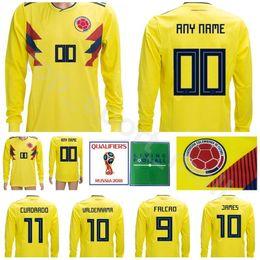 8d38be53365a4 Colombia Manga larga Jersey Fútbol 2018 Copa del mundo 10 JAMES Hombres  camiseta de fútbol Kits 9 FALCAO 11 CUADRADO 7 BACCCA 8 AGUILAR Hacer a  medida