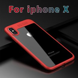 Wholesale Transparent Pouch Cell - For iphone X 8 7 6 Samsung S8 9 plus Acrylic TPU clear transparent Cell mobile phone case cover Auto focus Hybrid 2in1