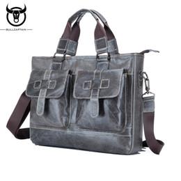 2019 переносная сумка для ноутбука BULL CAPTAIN MEN's LEATHER BRIEFCASE FOR BUSINESS fashion leather 14 inch laptop bag  soft handle tote shoulder bag дешево переносная сумка для ноутбука