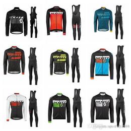 2018 pantalones largos jersey mtb SCOTT equipo Ciclismo manga larga jersey (babero) establece hombre MTB bicicleta Ropa Lycra Alta calidad Ropa de secado rápido F1606 pantalones largos jersey mtb baratos