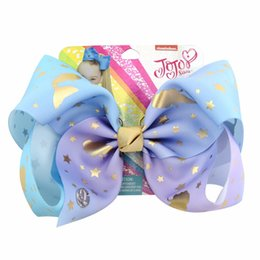 "Wholesale Horse Hair Bow - 1piece 8"" JoJo Bows Star Heart Mermaid Unicorn Horse Print Grosgrain Ribbon Hair Bows With Clip Kids Handmade Hair Accessory"