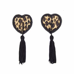 Wholesale Reusable Nipple Covers - Women Leopard Nipple Cover Sexy Pasties Reusable Tepel Cover Heart Shape Breast Tape Tassel Tepel