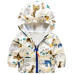 giacche per bambini piccoli Sconti Hooded Long Sleeves Animals Stampa Abbigliamento per bambini Boy Giacche Toddler Bambini Raincoat Windbreaker Boys Kids Capispalla