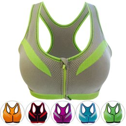 de0302a69c Sports Bra Zipper Fitness Women Sexy Yoga Push Up Seamless Padded  Professional Shockproof Black Plus Size Running Top Bra