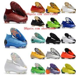 2019 sapato de futebol preto cr7 2018 sapatos de futebol dos homens Mercurial Superfly VI 360 Elite botas de futebol Neymar Ronaldo FG SuperflyX VI CR7 IC alto chuteiras de futebol tornozelo preto desconto sapato de futebol preto cr7