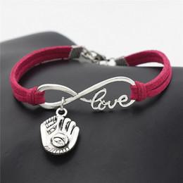 Luvas de beisebol vermelho on-line-Melhor Doce Moda Rosa De Couro Vermelho Camurça Cuff Bracelet Bangle para As Mulheres Homens de Prata Cor Infinito Amor 3D Baseball Glove Charme Jóias Presente