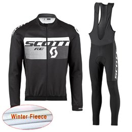 Wholesale cream long sleeve - 2018 SCOTT cycling clothes winter thermal fleece long sleeve men cycling jersey suit mountain bike clothing mtb bicycle sportswear E0701