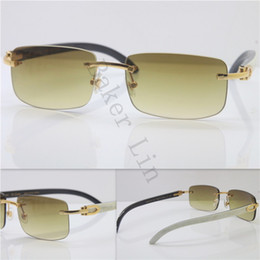 a479802caca6 Hot FRAMES RIMLESS Best Quality with White Inside Black Buffalo Horn  Sunglasses Unisex luxury brand Wood 18K Gold Sun Glasses