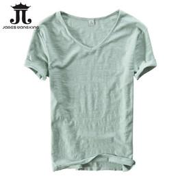 Bequeme leinenbekleidung online-Sommer T-Shirt Männer Leinen Coon Kurzarm V-Ausschnitt TopSpee atmungsaktive Bequeme dünne dünne T-Shirt Männer Kleidung asiatische Größe XXL