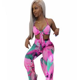 Tie-Dye Print Novedad Conjunto de dos piezas Halter Backless Crop Top + Empire pantalón ancho de la pierna Summer Outfit Sexy 2Pcs Sweatuit Women desde fabricantes