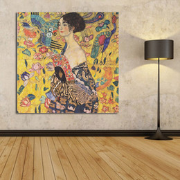 Wholesale Gustav Paintings - Lady With Fan Gustav Klimt 1917-1918 Wall Painting Picture Leaf Home Decorative Art Picture Paint On Canvas Prints No Framed