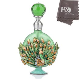 Argentina HD 7ML Retro Pewter Peacock Figurine Perfume Bottle Jewelry Mini Perfume Fragancia Contenedor (Verde) Lady's Home Decor Suministro