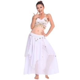 Trajes de camisa de dança on-line-Dança Do Ventre Desempenho Estágio Oriental Roupas de Dança Do Ventre 2 peças Terno Top Camisa + Saia Conjunto Traje De Dança Branco