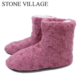 Wholesale winter woolen shoes - New Arrival 2017 Household Slippers 6 Colros Warm Soft Woolen Indoor Slipper Pretty Rose Veins Women Slippers Winter House Shoes