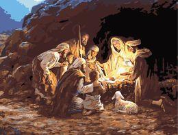 16x20 pollici Vintage DIY Christmas Day La nascita di Gesù Scenario Dipinto dai numeri Kit Art Dipinto ad olio acrilico su tela da