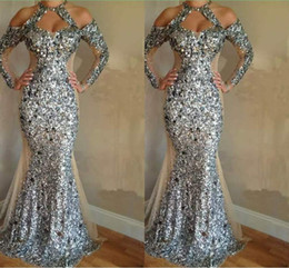 gorgeous gown design 2018 - Luxurious Sequin Crystals Mermaid Evening Dresses 2018 Gorgeous Long Sleeve Halter Evening Gowns Unique Design Honorable Prom Dresses