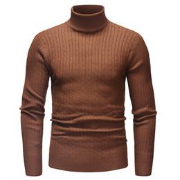 2019 hombre de cuello alto a rayas Sweater Pullover Hombre 2018 Marca Hombre Casual Slim Hombres Suéter a rayas de punto Hedging Turtleneck Men'S hombre de cuello alto a rayas baratos