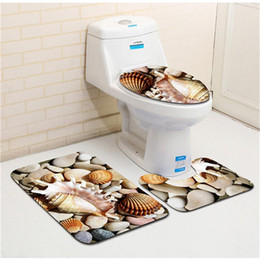Wholesale Toilet Seats Covers Soft - 2018 Hot Sale Soft Three-piece Set Toilet Seat Cover U-shaped Overcoat WC Cover Home Decor Bathroom Toilet Mats Closestool Merletto