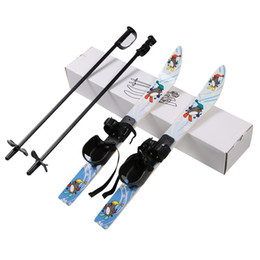 "Wholesale Ski Boards - 25"" Youth Kids Ski Set Board Skiing Snowboard Bindings With Ski Pole Childrens Gift Outdoor Sports Tool"