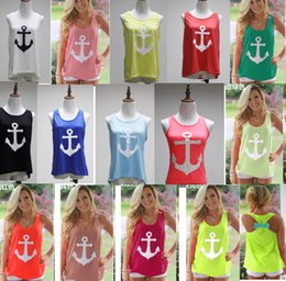 Wholesale Boat Tanks - Women Girls Summer Navy Boat Anchor Print Sleeveless Tank Top Vest Round Neck Bowknot Back Casual T-shirt Blouse Beach Yoga Sports Wear