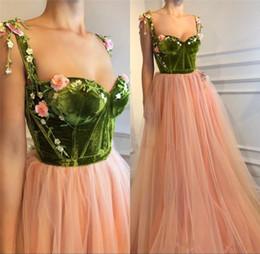 Wholesale Cheap Modern Flower Girl Dresses - Blush Pink 3D Floral Long Prom Dresses 2018 A Line Velvet Vintage Lace Plus Size Cheap Girls Pageant Engagement Arabic Evening Party Gowns