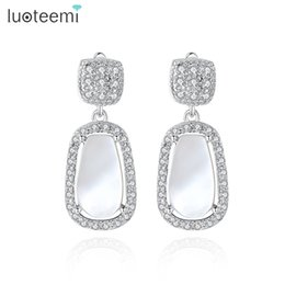 Wholesale Natural Shell Chandelier - LUOTEEMI Women Handmade Vintage Geometric Natural Shell Crystal Elegant Pendant Drop Earrings for Bridal Wedding Party Brincos