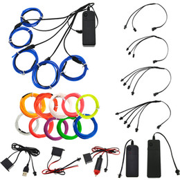 Wholesale Sound Activated Car - EL Wire 1M Glow String Strips Neon LED Light + Controller + Inverter 3V 12V Sound Activated USB Car Cigarette