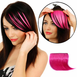 Wholesale Girls Hair Extension Clips - 2017 Clips Hair Styling Pretty Girls Clip On Clip In Front Hair Bang Fringe Extension Straight Synthetic Piece Thin