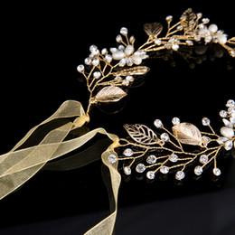 Wholesale Rose Gold Tiara - Leaves Wedding Hair Accessories Bridal Hair Vine Wedding Headband crystal tiaras and crowns Head Piece hair decoration