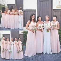 горячие розовые свадебные платья ребенка Скидка 2018 Hot Baby Pink A Line Шифон Длинные Платья Невесты Дешевые Одно Плечо Без Рукавов Ruched Драпированные V-образным Вырезом Плюс Размер Свадебные Платья для Гостей
