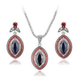 Wholesale red bridal jewellery - Vintage Rhinestone Bridal Necklace Sets Earrings For Women Jewelry Set Bohemian Rings Wedding Turkish Nigerian Red Jewellery