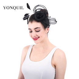 European style black wedding headwear fmower fascinators headbands women  party race tea hair accessories bridal mesh fedora caps 6pcs lot f35e1494e20b
