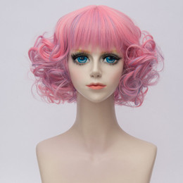 Wholesale Pink Cosplay Wigs Short - Free shipping>>>Pink Middle Part Short Wavy Lady Cosplay Costume Wigs