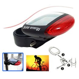 Wholesale led bike rear light solar - Waterproof Solar Power LED Bicycle Lights Rechargeable Bike Rear Tail Lamp Light Cycling Safety Warning HeadLamp hot
