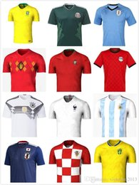 Wholesale Argentina Rugby - 2018 World Cup Soccer Jerseys Home away Brazil Argentina Spain Uruguay Colombia Belgium Russia Mexico Sweden Messi Football jersey t shirt