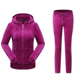 Vestiti di velluto rosa delle donne online-Tute sportive da donna Nero Nevy Blu Rosa Sottile Cerniera Velluto oro Tute casuali per donna Colletto con cappuccio Abito sportivo popolare